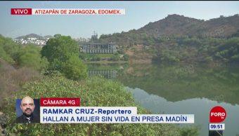 Hallan a mujer sin vida en presa Madín, Edomex