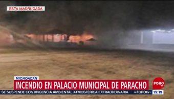 FOTO: Incendio en Palacio Municipal de Paracho, Michoacán, 19 MAYO 2019