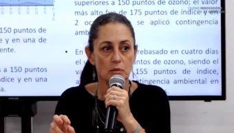 Foto: La mandataria capitalina, Claudia Sheinbaum, explica por qué no hay contingencia en la CDMX, mayo 13 de 2019 (Twitter: @Claudiashein)