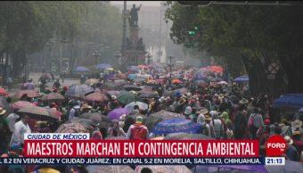 Foto: Maestros Marchan Contingencia Ambiental CDMX 15 de Mayo 2019