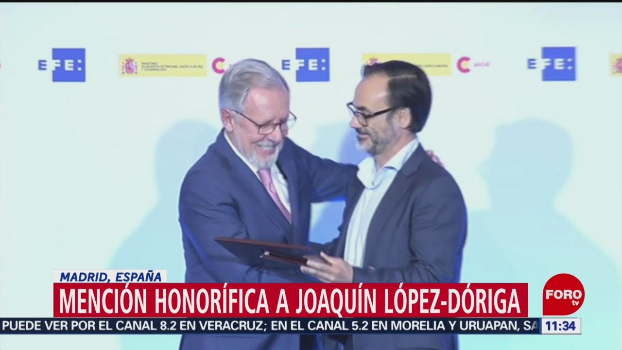 FOTO: Mención honorífica a Joaquín López-Dóriga, en Madrid, España, 1 MAYO 2019