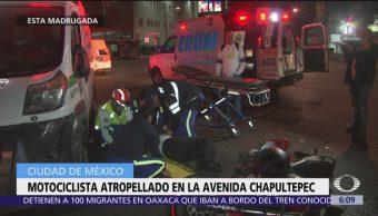 Motociclista es atropellado en avenida Chapultepec