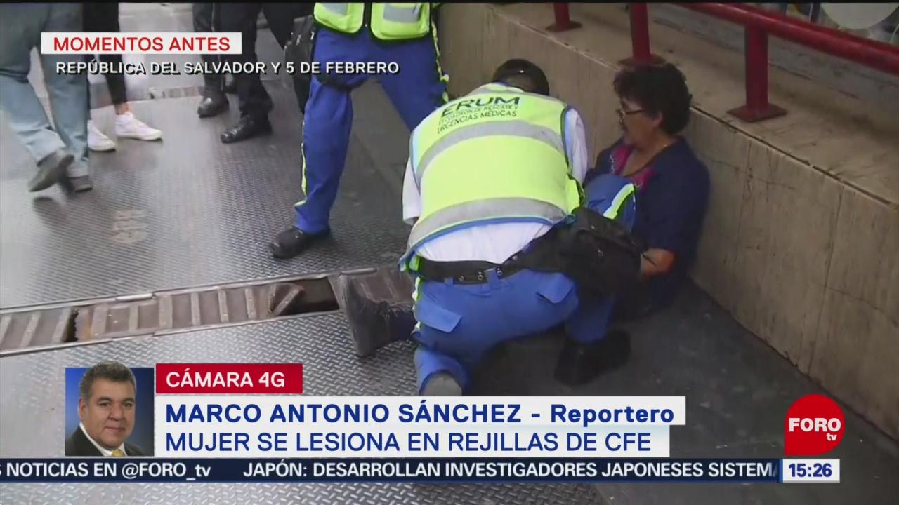 FOTO: Mujer se lesiona el pie en rejilla de la CFE en CDMX
