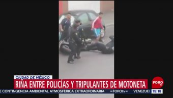 FOTO:Policías y tripulantes de motoneta se enfrentan a golpes en CDMX, 19 MAYO 2019