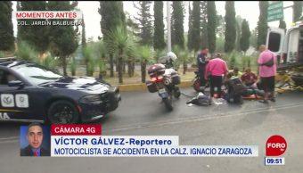 Se accidenta motociclista en calzada Ignacio Zaragoza, CDMX