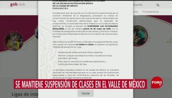 FOTO: SEP mantiene suspensión de clases en el Valle de México