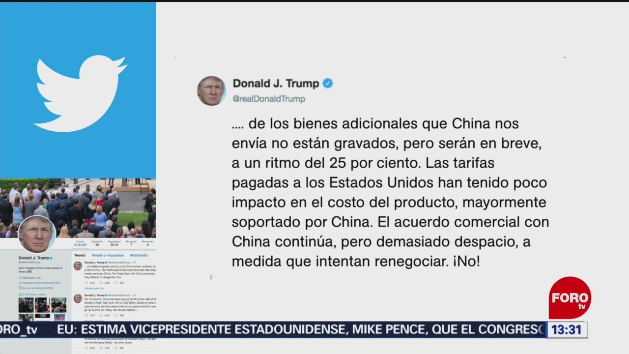 FOTO: Trump amenaza a China con más aranceles, 5 MAYO 2019