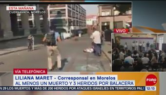 Zona de balacera en centro de Cuernavaca permanece acordonada