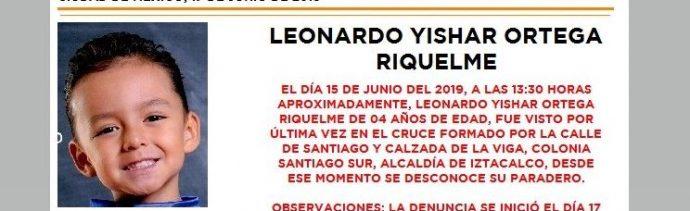 Foto Alerta Amber para ayudar a localizar a Leonardo Yishar Ortega 17 junio 2019
