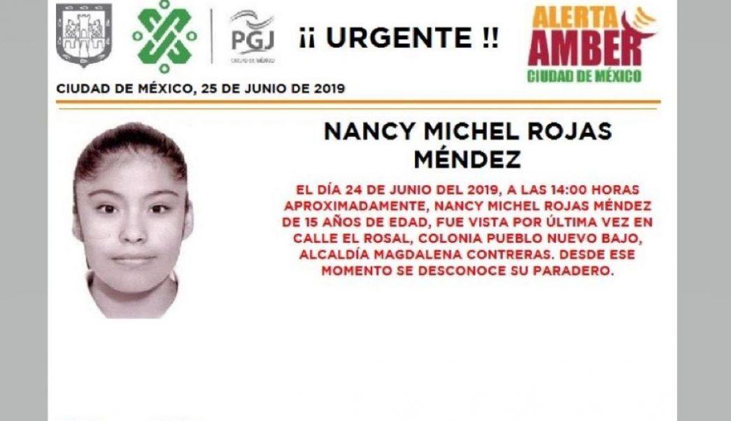 Foto Alerta Amber para localizar a Nancy Michel Rojas Méndez 25 junio 2019
