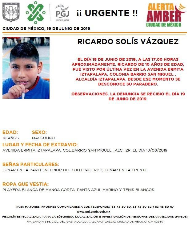 Foto Alerta Amber para localizar a Ricardo Solís Vázquez 19 junio 2019