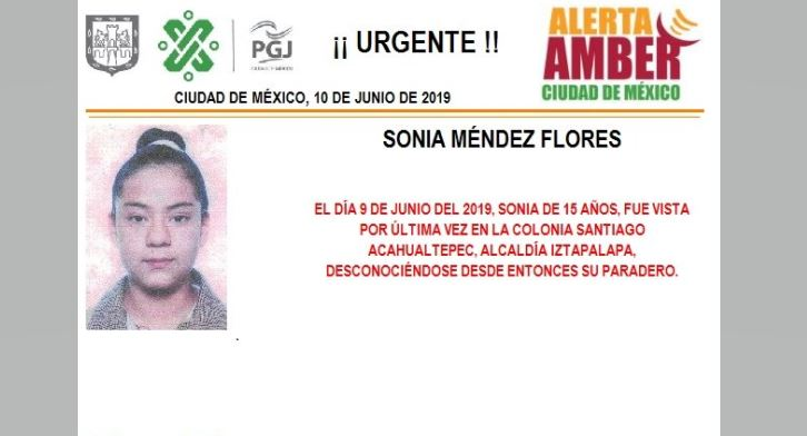 Foto Alerta Amber para localizar a Sonia Méndez Flores 11 junio 2019