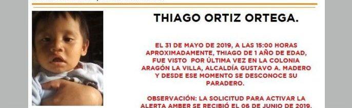 Foto Alerta Amber para localizar a Thiago Ortíz Ortega 6 junio 2019