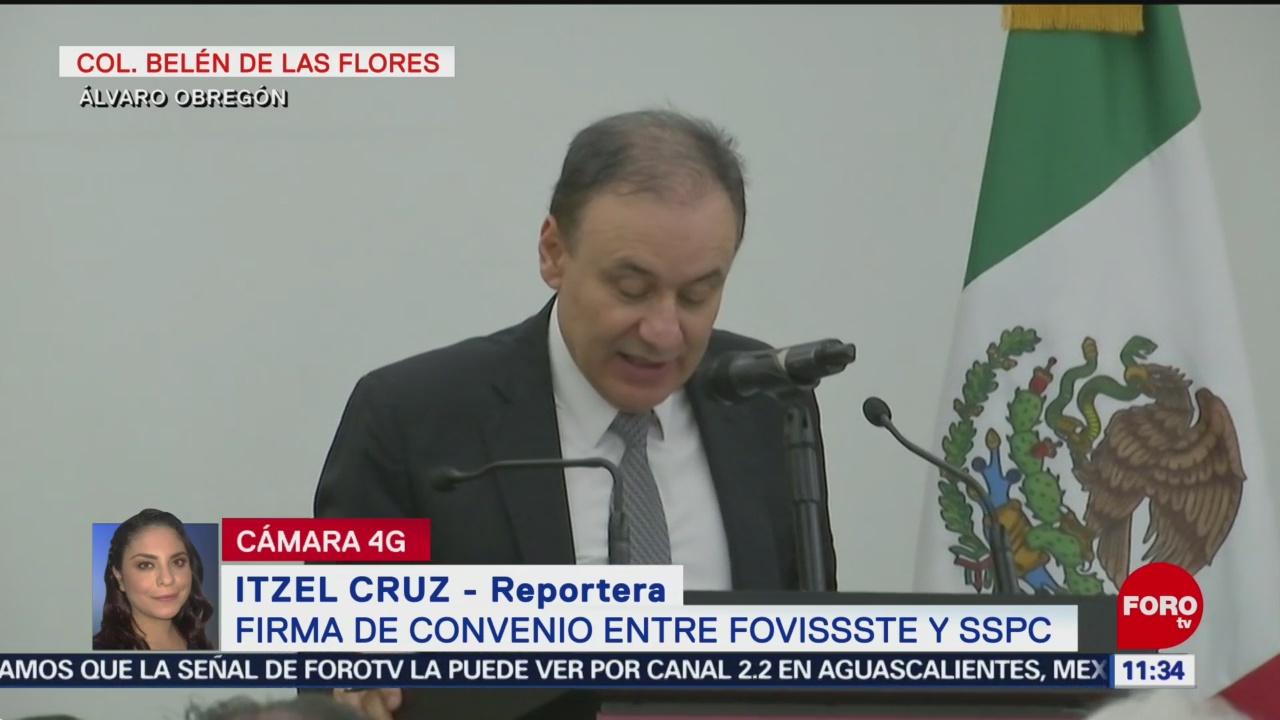 Alfonso Durazo participa en la firma del convenio entre FOVISSSTE y SSPC