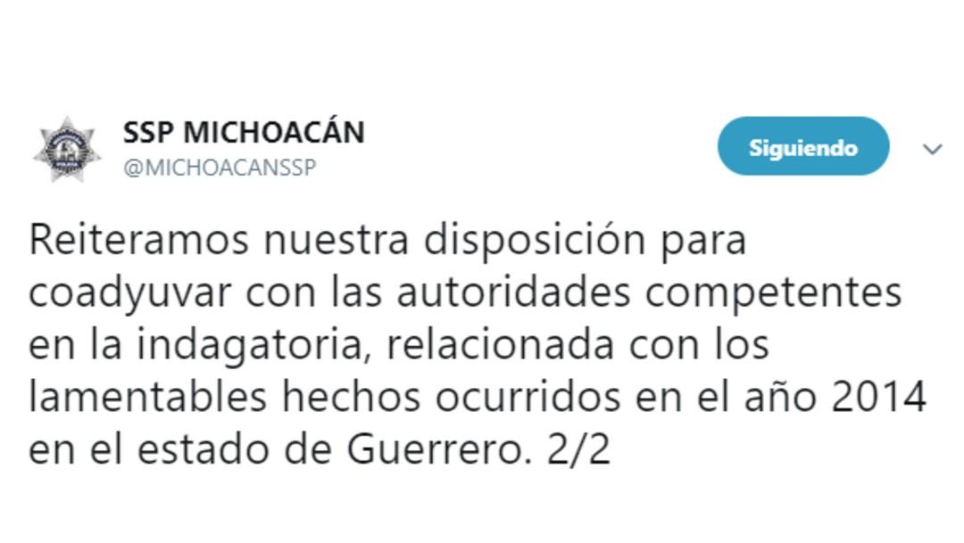 IMAGEN Ayotzinapa: Renuncia funcionario Michoacán por video de tortura (Twitte 22 junio 2019 michoacan)