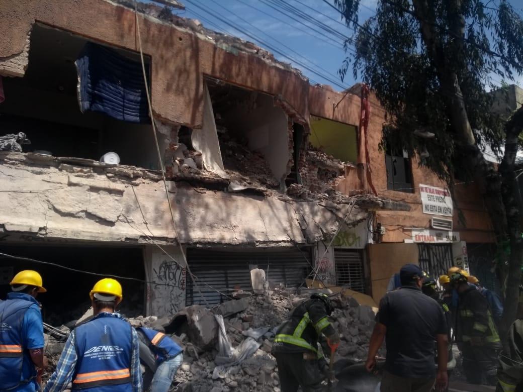 Foto: Cae barda de edificio en demolición en Tlalpan, 18 de junio de 2019, Ciudad de México
