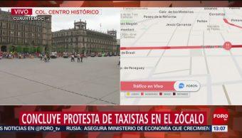 FOTO. Concluye protesta de taxistas en el Zócalo de la CDMX