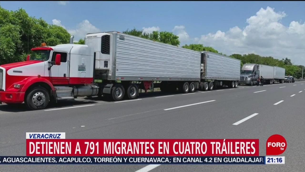 FOTO: Detienen a 791 migrantes centroamericanos transportados en cuatro tráileres, 15 Junio 2019