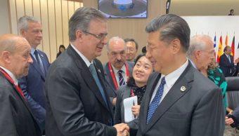 Foto: El secretario de Relaciones Exteriores, Marcelo Ebrard, con el presidente de China, Xi Jinping, el 29 de junio de 2019. (Twitter @m_ebrard)
