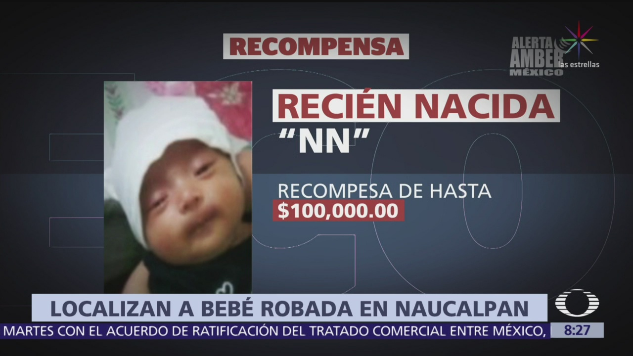 Encuentran a bebé robada ayer en Naucalpan