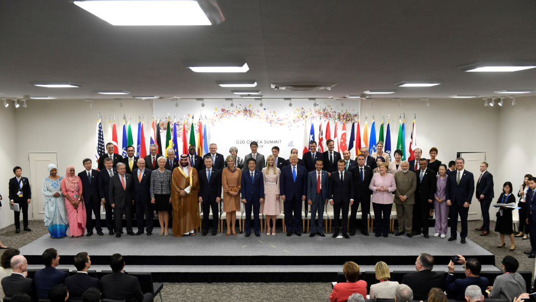 Fotografía oficial de los líderes de la Cumbre del G20 celebrada en Osaka, Japón, 29 junio 2019