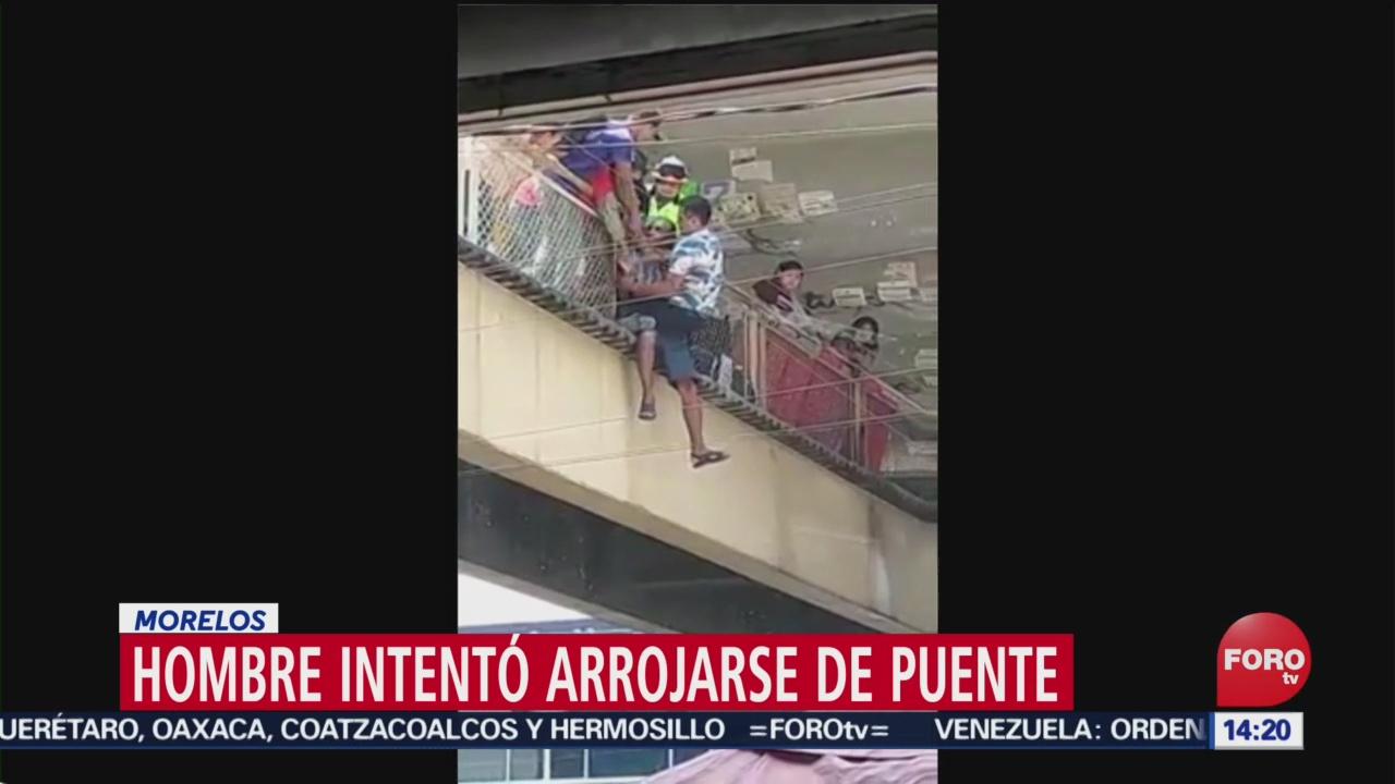 FOTO: Hombre intentó arrojarse de puente en Morelos