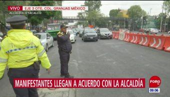 Manifestantes retiran bloqueo en alcaldía Iztacalco