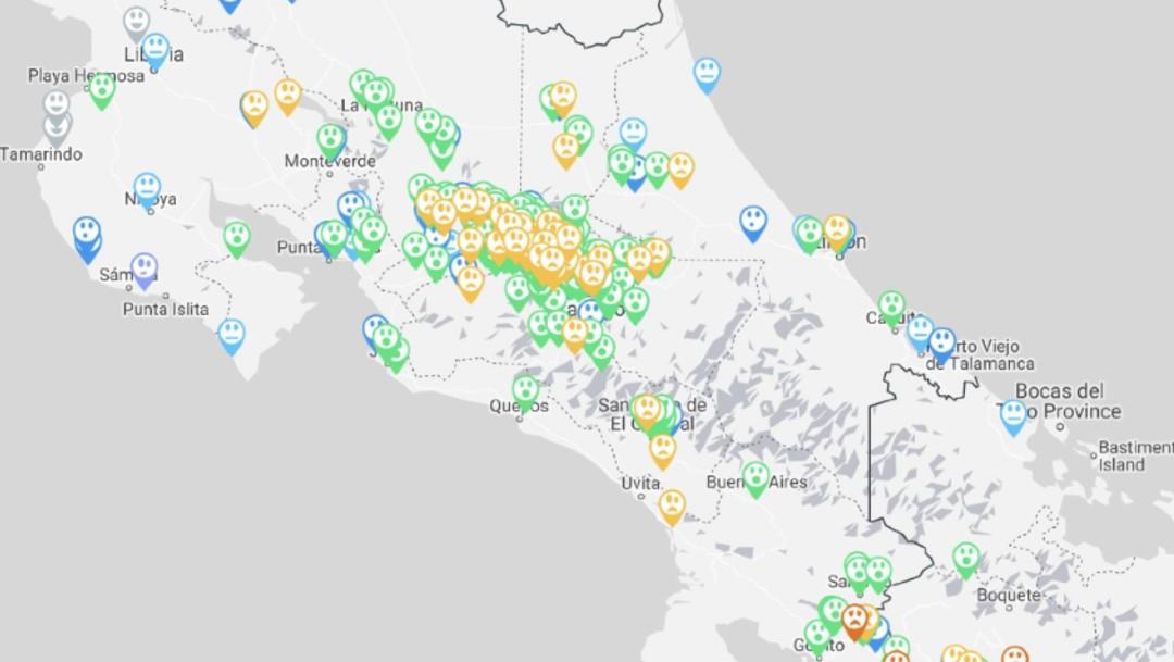 Foto: Mapa con casi 800 reportes de usuarios de la Red Sismológica de Costa Rica, 26 de junio de 2019