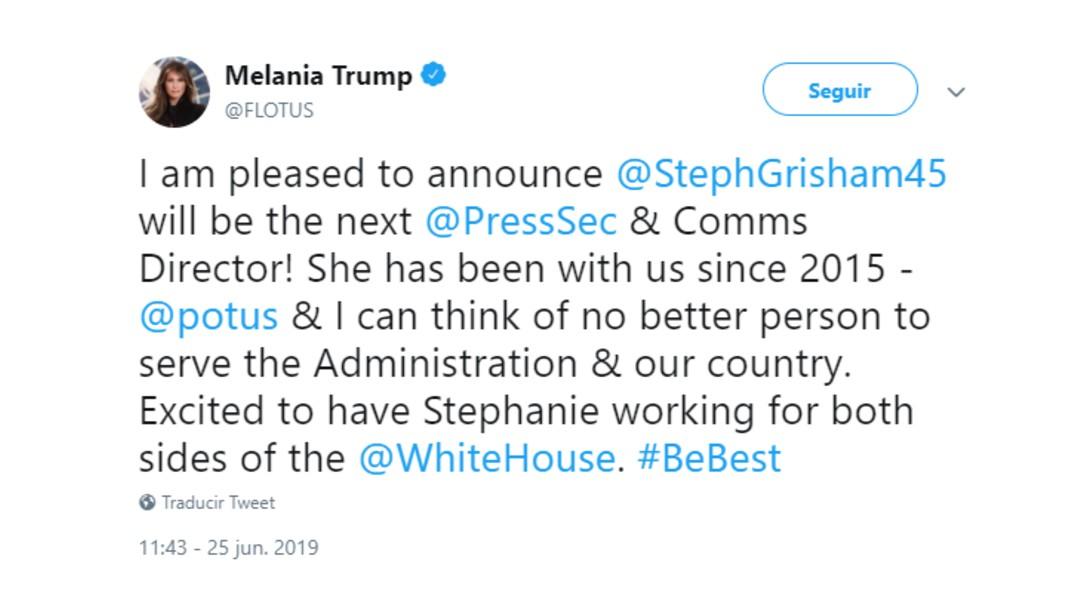 Foto: Melania Trump anuncia en Twitter el nombramiento de Stephanie Grisham, 25 de junio de 2019, Estados Unidos