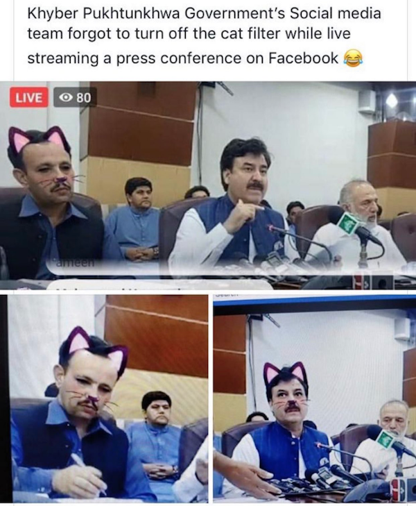 Foto Funcionarios olvidan quitar filtro de gato durante conferencia de ministro 17 junio 2019