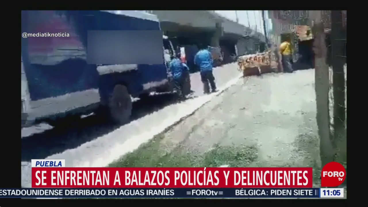 Policías y delincuentes se enfrentan a balazos en Puebla