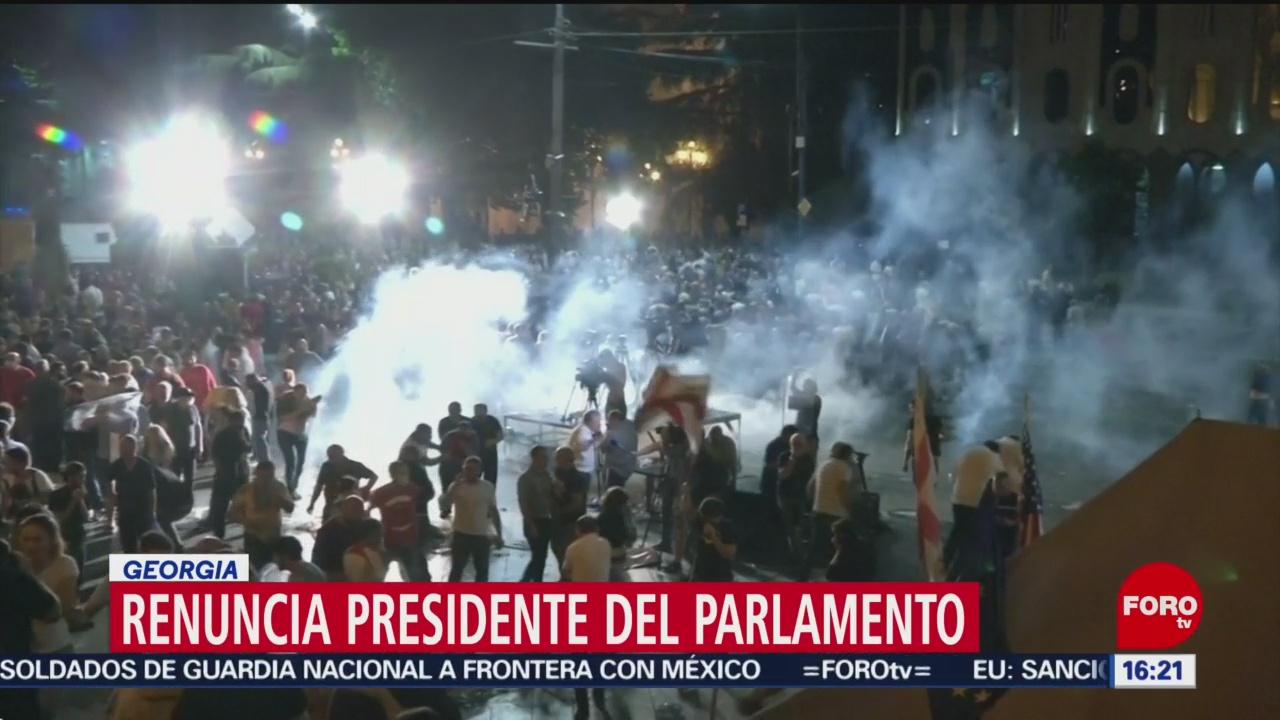 FOTO: Renuncia el presidente del Parlamento en Georgia, 22 Junio 2019