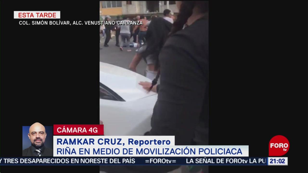 FOTO: Riña en medio de movilización policiaca en Venustiano Carranza, CDMX, 16 Junio 2019