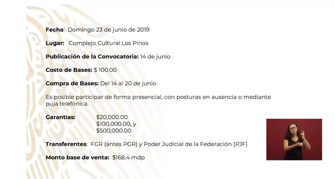Foto: Anuncia primera subasta de bienes inmuebles, 17 de junio de 2019, Ciudad de México