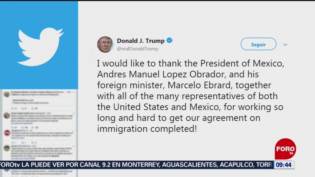 Trump agradece a López Obrador y Ebrard sus esfuerzos para lograr acuerdos