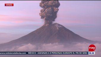 Volcán Popocatépetl emite exhalación con cantidades de ceniza