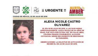 Foto Alerta Amber para localizar a Alexa Nicole Castro Olivarez