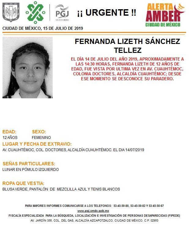 Foto: Alerta Amber para localizar a Fernanda Lizeth Sánchez Tellez 15 julio 2019