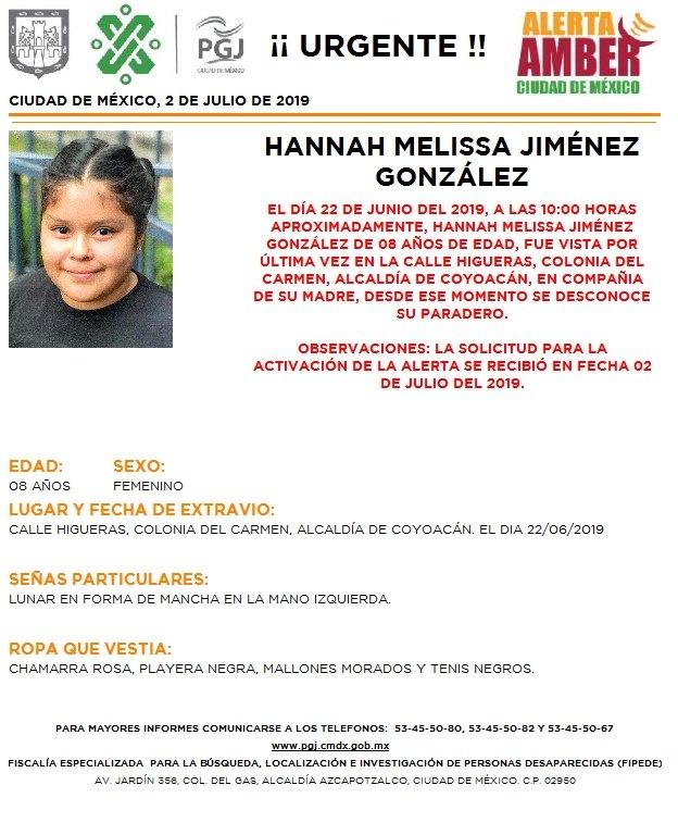 Foto Alerta Amber para localizar a Hannah Melissa Jiménez González 2 julio 2019
