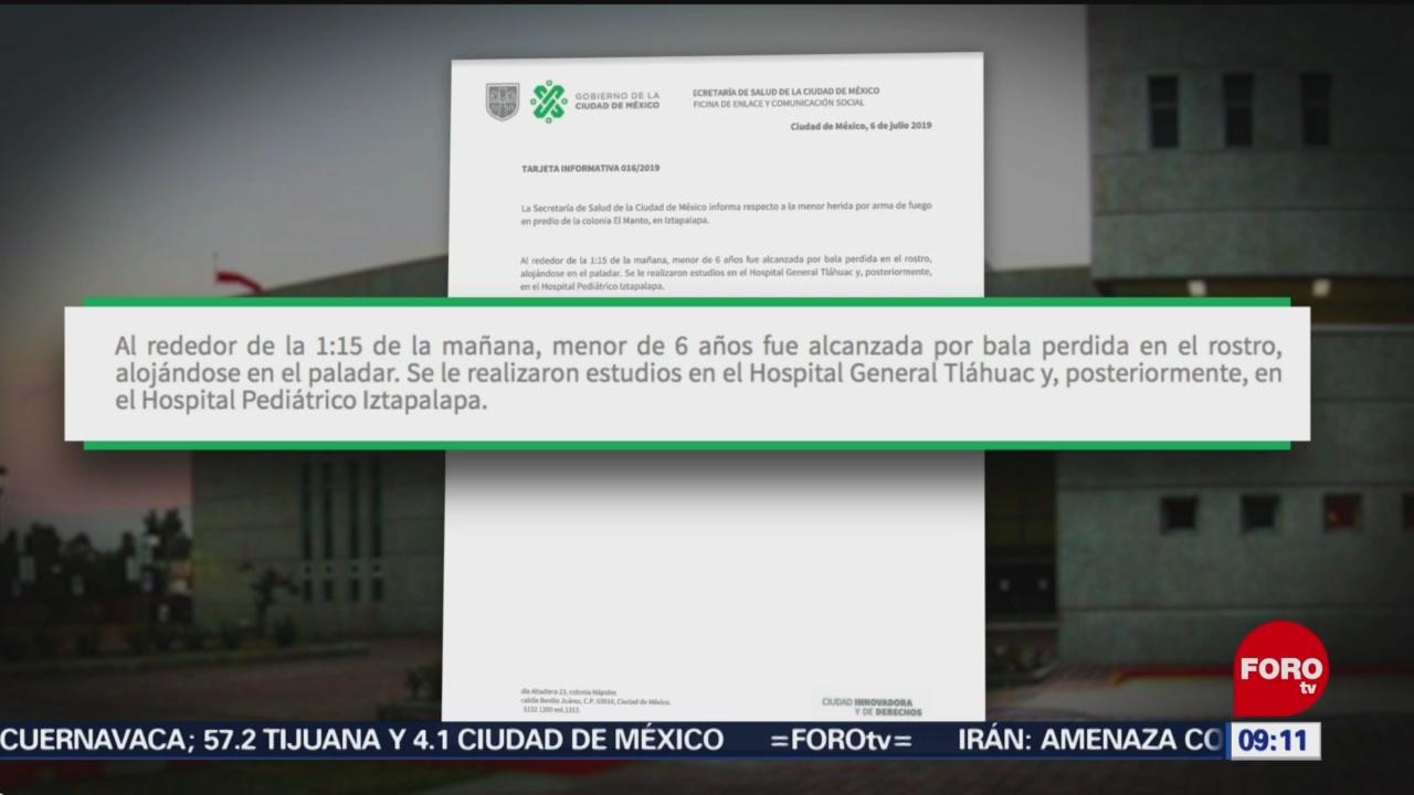 FOTO: Autoridades capitalinas investigan caso de niña que perdió ojo por bala perdida, 7 Julio 2019