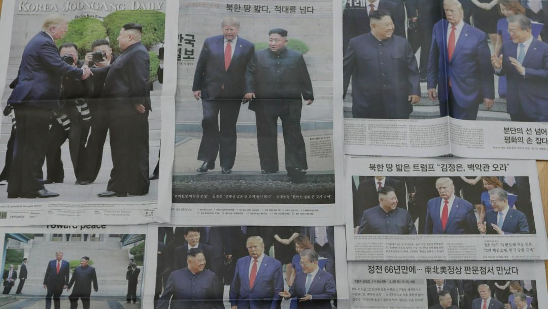 Foto: Prensa de Corea del Sur destaca encuentro entre Trump y Kim, 1 de julio de 2019, Seúl