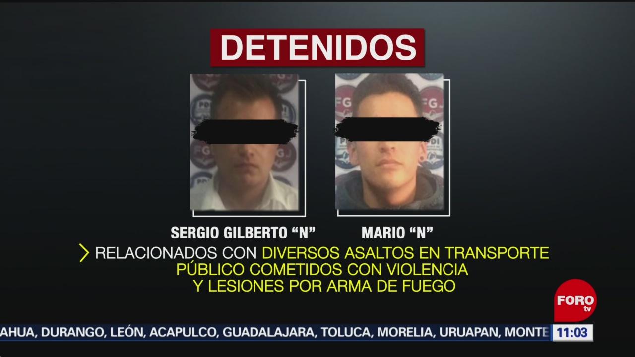 Detienen a dos por robo en transporte público, Estado de México