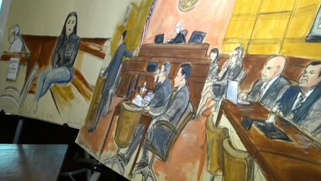 """FOTO Cómo fue dibujar a """"El Chapo"""" durante el juicio del siglo, Elizabeth Williams narra su experiencia a Noticieros Televisa (Noticieros Televisa)"""