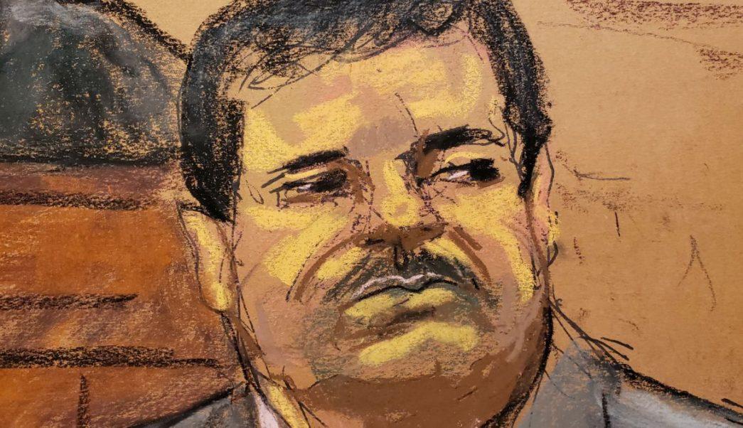 """Foto: Boceto durante la sentencia a cadena perpetua del narcotraficante Joaquín """"El Chapo"""" Guzmán. El 17 de julio de 2019"""