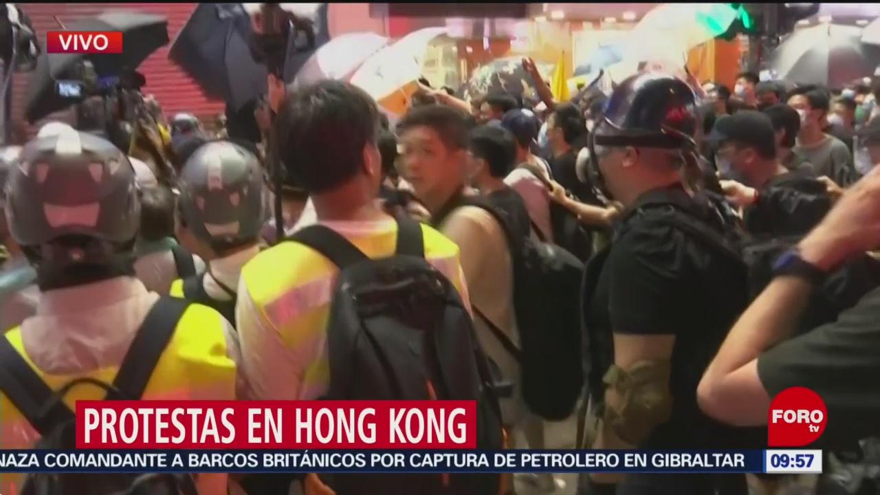FOTO: Hay tensión en Hong Kong durante las contra ley extradición, 7 Julio 2019