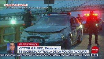 FOTO: incendia patrulla de la Policía Auxiliar en Venustiano Carranza, 21 Julio 2019