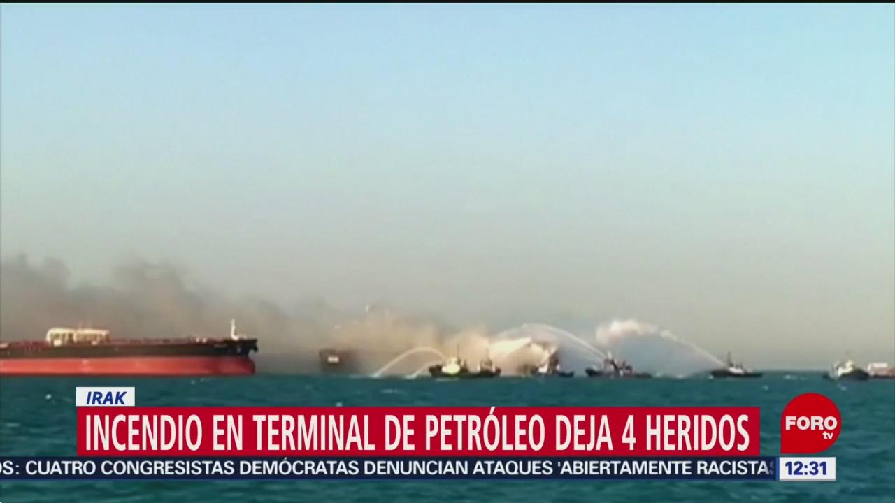 Incendio en terminal petrolera de Irak deja 4 heridos