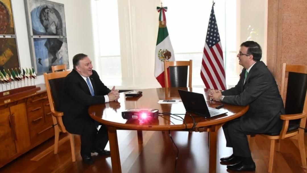 Foto:El canciller Marcelo Ebrard se reunió con el secretario de Estado de EU, Mike Pompeo, 21 julio 2019