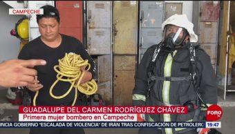 FOTO: Mujer vence a 4 hombres que junto a ella disputaban puesto de bombero, 20 Julio 2019