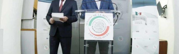 Foto: Miguel Ángel Osorio Chong y Mauricio Kuri, 9 de julio 2019. Twitter @SenadoresdelPAN